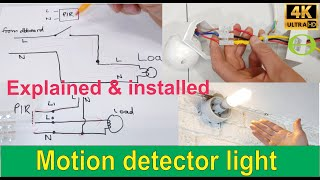 How to install an Infrared motion detector sensor for a light  explained and installed.