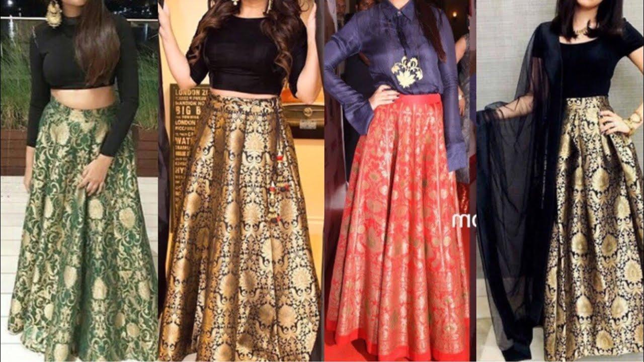 3a65eb5271cec7 Brocade Lehenga design ideas Indo western outfits in brocade fabric New  brocade crop-top lehenge