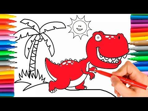 🎨 COMO DIBUJAR Y COLOREAR UN DINOSAURIO 🎨 Aprende los colores con un dibujo para niños