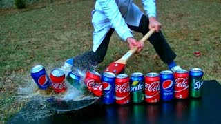 Sword Cutting in Half 15 Sodas in Slow Motion - Slow Mo Lab(Can a regular landscaping sword cut in half 15 soda cans?? Slow Motions is included... Watch Previous Video: https://www.youtube.com/watch?v=Izic6NafyKw ..., 2015-02-27T12:55:50.000Z)