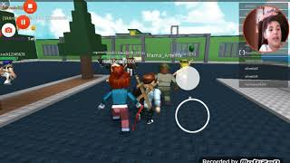First time playing roblox on camera and also deb is in it two.
