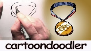 How to Draw an Olympic Gold Medal - Cartoon Gold Medal