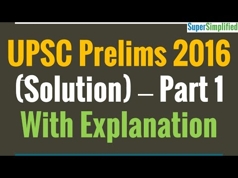 UPSC Prelims 2016 GS1 Solved Paper - Part 1