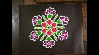 Simple Flower Rangoli Design with Beautiful Colours & dots 7x4 | Easy Kolam for Festivals