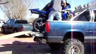Unloading A Motorcycle With A Homemade Ramp