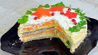 Торт наполеон закусочный с консервами