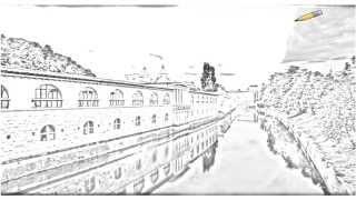 Auto Draw 2: Backside Of Market Colonnade And Ljubljanica River At Dusk, Ljubljana, Slovenia