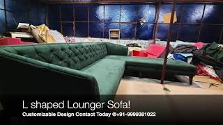 L shaped Suede sofa 6 seater Green