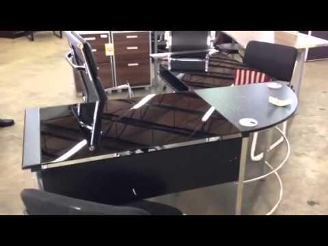 glass l shaped desk in miami youtube. Black Bedroom Furniture Sets. Home Design Ideas