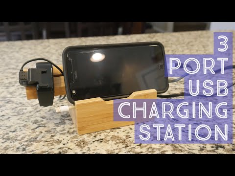 wooden usb charging station
