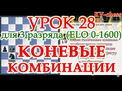 Коневые комбинации в шахматах - Урок 28 для 3 разряда.