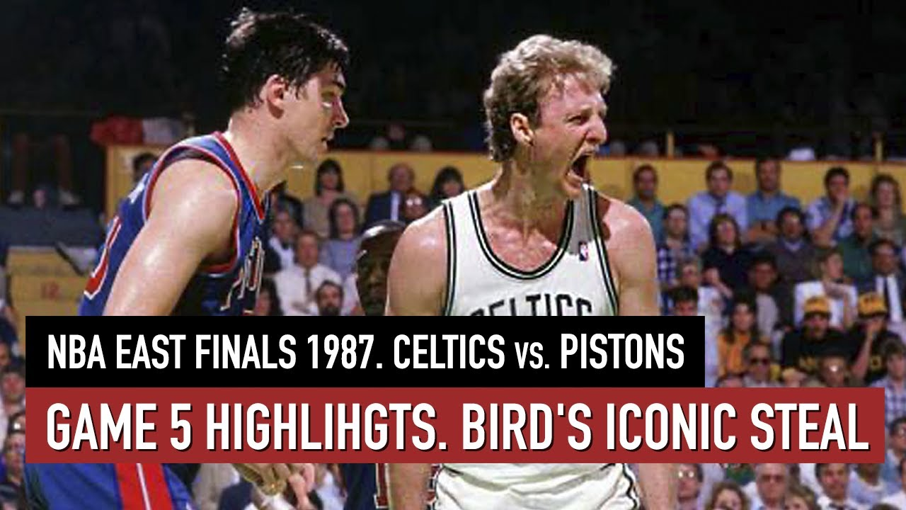 Throwback NBA East Finals 1987. Celtics vs Pistons Game 5 Full highlights. Bird 36 pts and STEAL HD