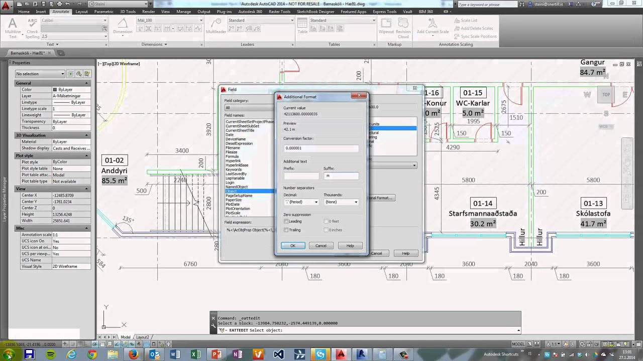 Autocad 2014  Insert Field Showing Square Meters Of Hatched Spaces
