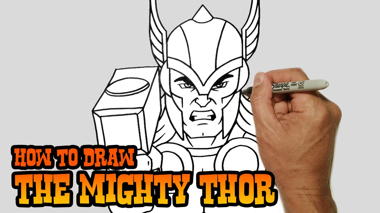 How to draw thor simple video lesson youtube