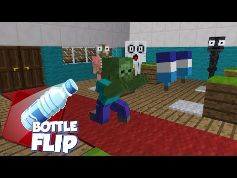 Monster School: Bottle Flip Challenge - Minecraft Animation