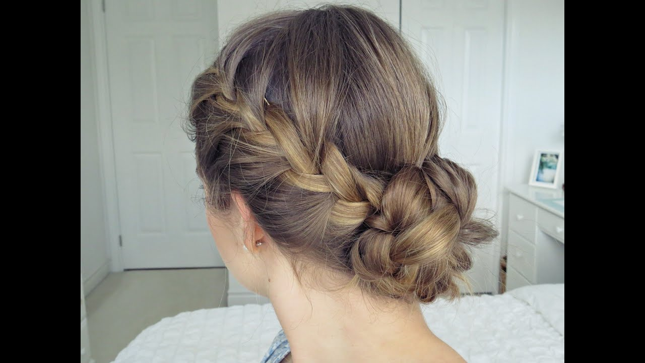 bohemian braid updo | hair tutorial - simple & easy - youtube