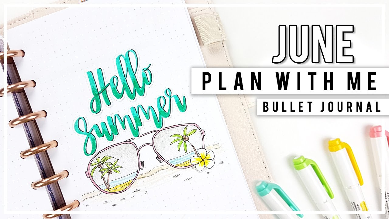 Plan with me june bullet journal monthly setup for Plan me