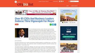 Business Leaders Endorse Thiru Vignarajah for Mayor of Baltimore City