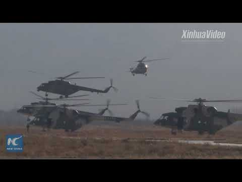 A sneak peak of flight training exercise of Xinjiang-based aviation troops