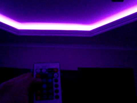 Led Light Strips Living Room Ideas With Sectional And Fireplace Rgb Strip Instaled On The Ceiling From My
