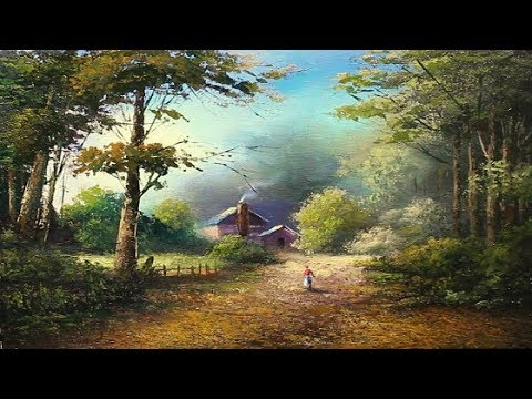 Oil Painting Of Village On Lake