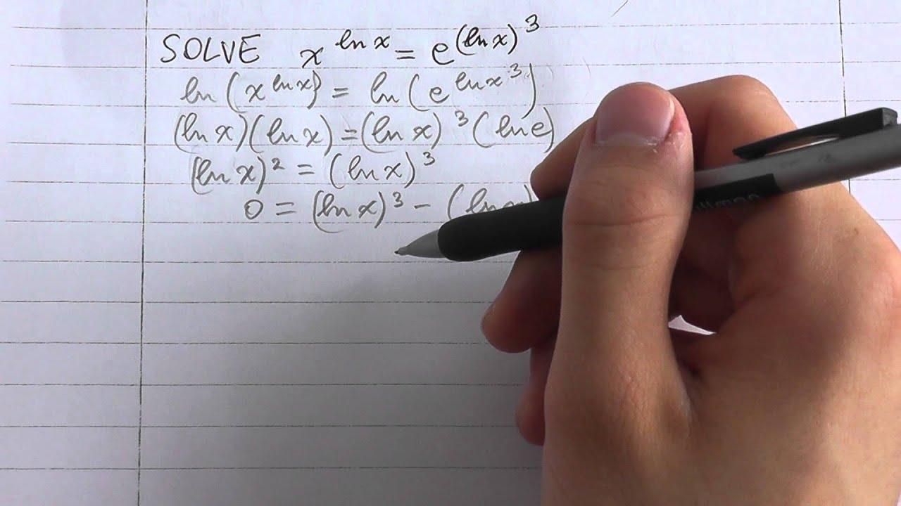 Solve: (x)^(ln(x)) = (e)^(ln(x))^3 - YouTube
