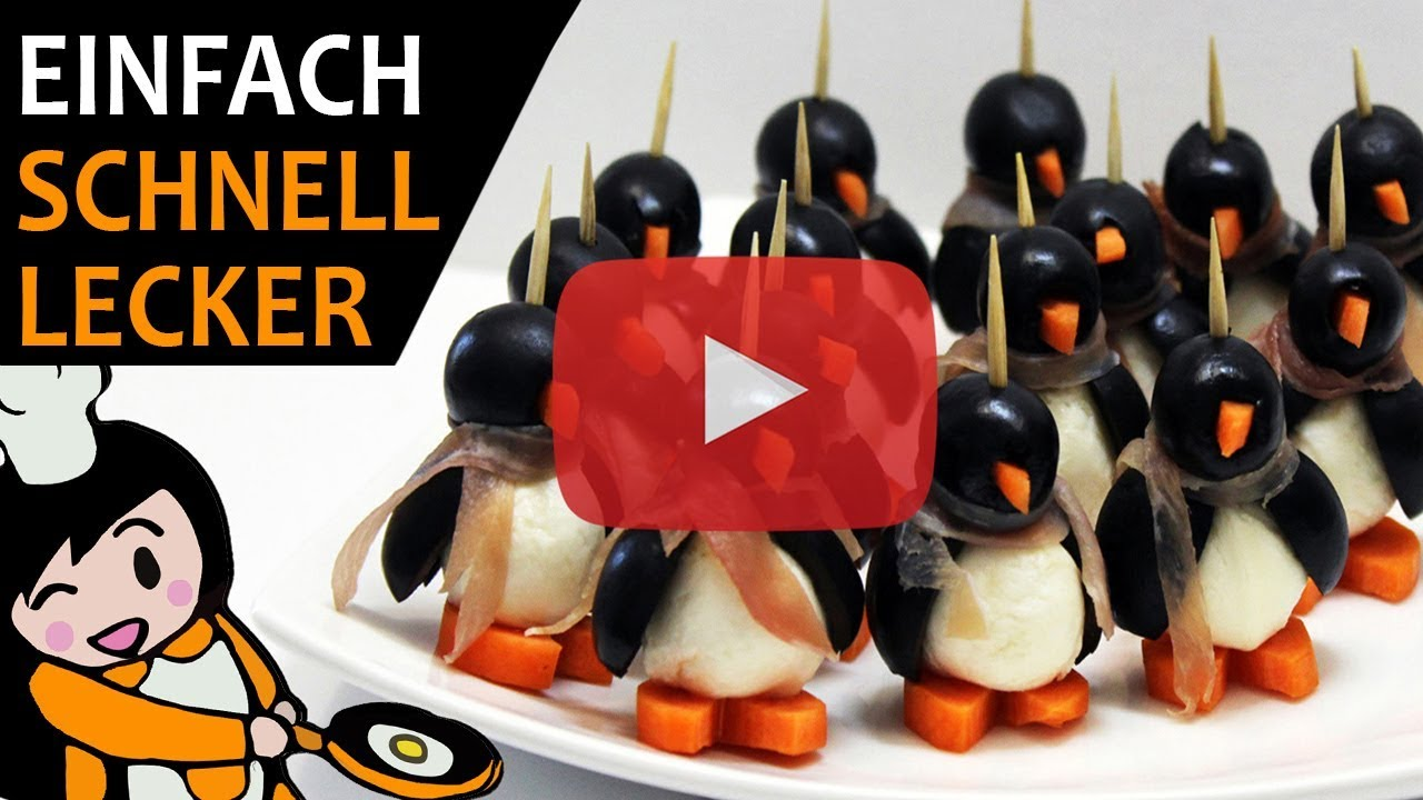 pinguin fingerfood aus mozzarella rezept  youtube