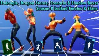 [Fortnite] Leaked Emotes & Skins SEASON 8 Sunbird Skin (Dragon Stance, Fandangle, Scenario)