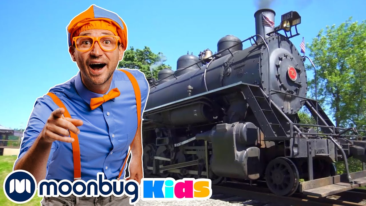 BLIPPI Explores a Steam Train | Moonbug Play and Learn