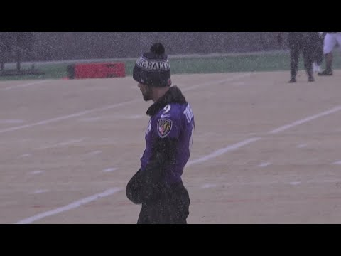 Ravens' Jackson turned 23 Tuesday, celebrates with snow practice ahead of playoff game