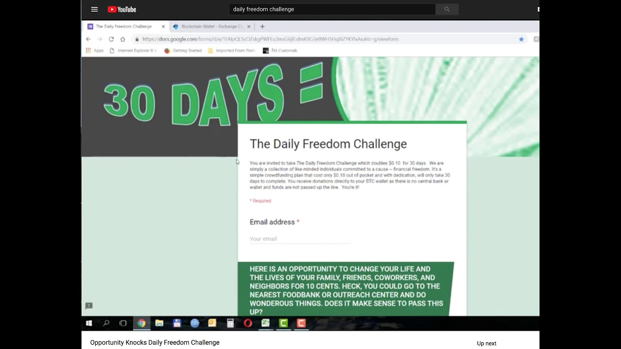 Daily Freedom Challenge Only 0.20 to financial freedom-GOTTA SEE THIS https    youtu.be YFwiJQ9yUGw 5be8c3f76c3c9