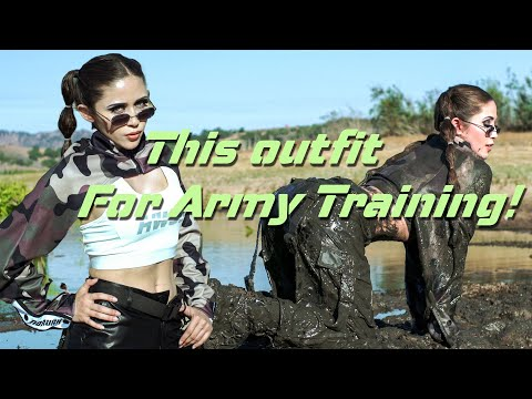 Girl in Leather Pants & Camouflage Tops Joins Army Style Training | Muddy Girl | Boots in Mud