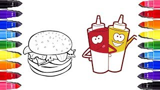 Coloring pages Hamburger and sauce| Coloriage pour enfants | How to draw Fast Food