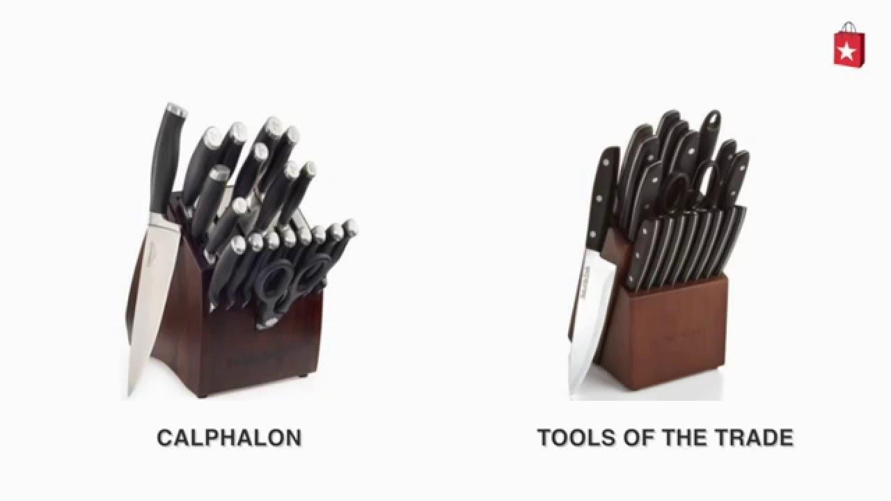 calphalon sharpin self sharpening 20piece cutlery set comparison video youtube