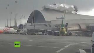 Fuertes vientos arrancan el techo en un aeropuerto en Brasil