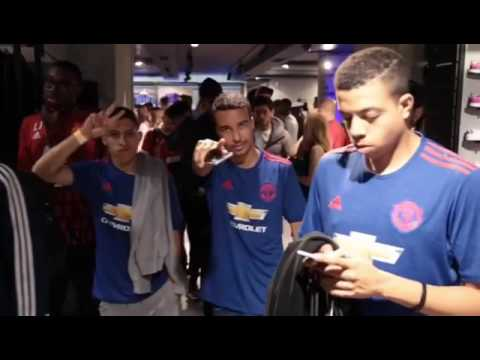 New Man United Away kit launch, adidas store oxford street london