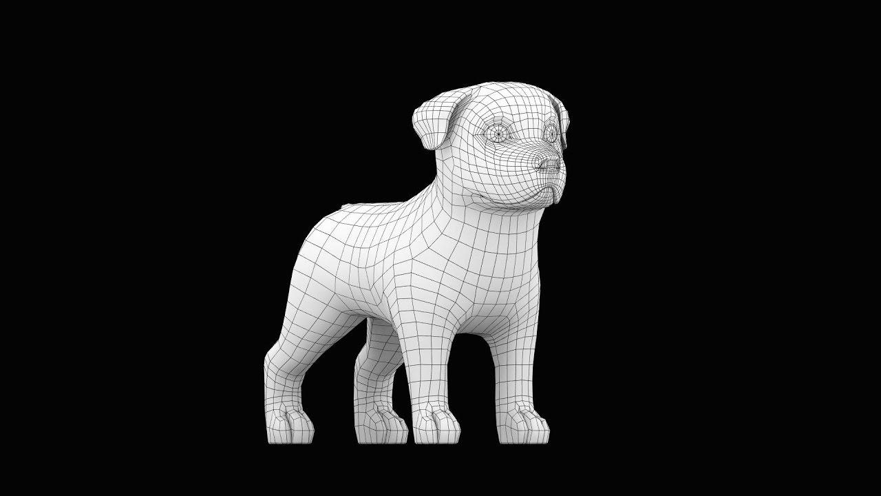 Cartoon Dog Blender 3D Modeling Timelapse