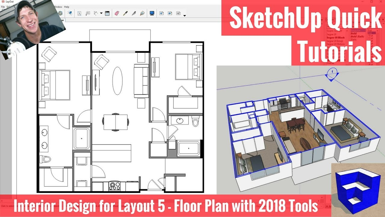 Creating a floor plan in layout with sketchup 2018 39 s new tools apartment for layout part 5 for How to design a floor plan in sketchup