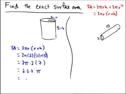 Surface area of a cylinder exact answers in terms of pi youtube surface area of a cylinder exact answers in terms of pi ccuart Gallery