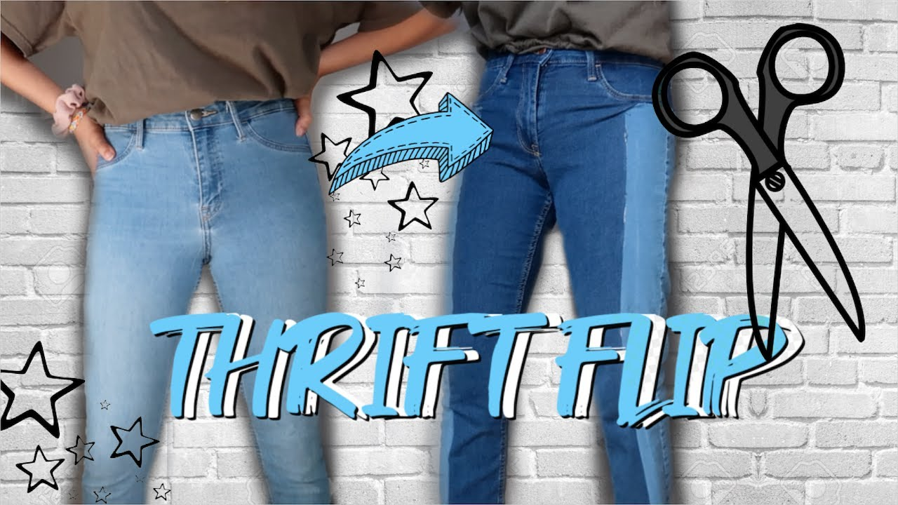 THRIFT FLIP | cropped tops & color block jeans 6