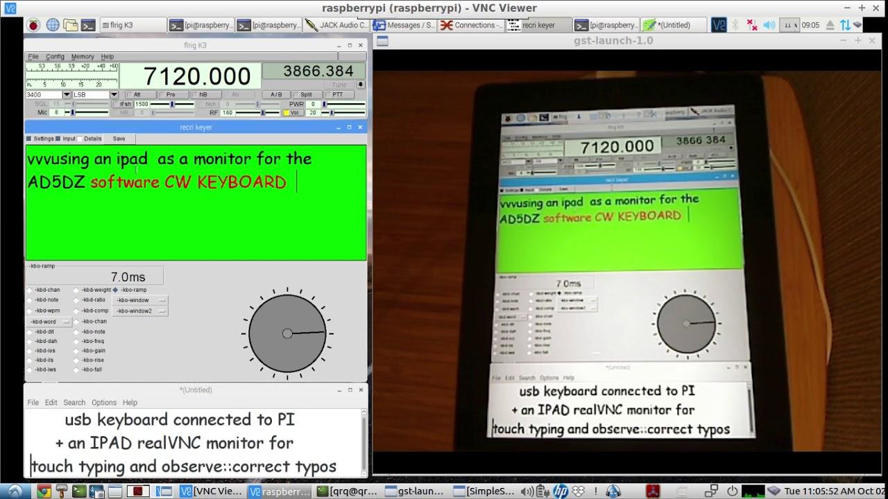 Raspberry PI software CW KEYBOARD - using an IPAD as the CW Keyboard's  TYPING SCREEN MONITOR