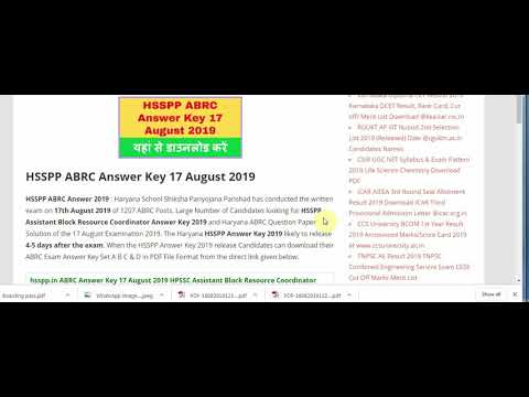 HSSPP ABRC Answer Key 17 August 2019 ABRC Exam Answer Sheet Pdf