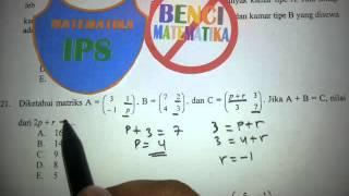 Matriks-Pembahasan Soal UN Matematika IPS 2014 No.21