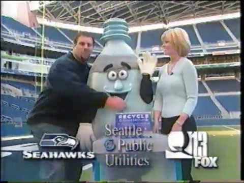 Leslie Miller for Q13 Fox Seattle Seahawks Stadium Recycling Commercial with Steve Hutchinson (2002)