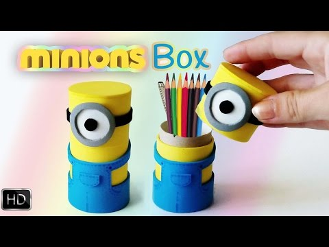How to make : Minions box from cardboard ( PENCİL HOLDER )