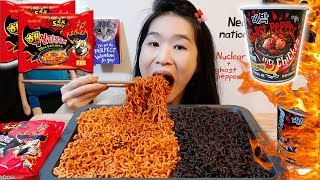 SPICIEST NUCLEAR & GHOST PEPPER NOODLES CHALLENGE | Spicy Fire Ramen Mukbang w/ Asmr Eating Sounds