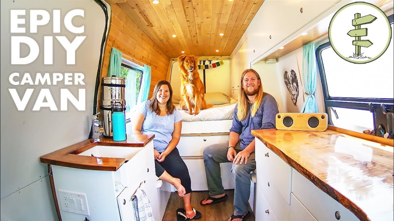van life couple sold their house to live in a diy camper van youtube. Black Bedroom Furniture Sets. Home Design Ideas