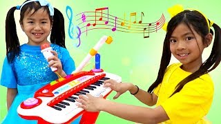 Download Emma & Jannie Pretend Play with Guitar and Drums for Surprise Birthday Party Mp3 and Videos