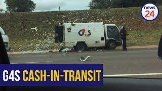 WATCH: Shots fired as robbers blow up cash-in-transit van near Pretoria