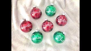 DIY Glitter Ornaments // Cricut Personalization